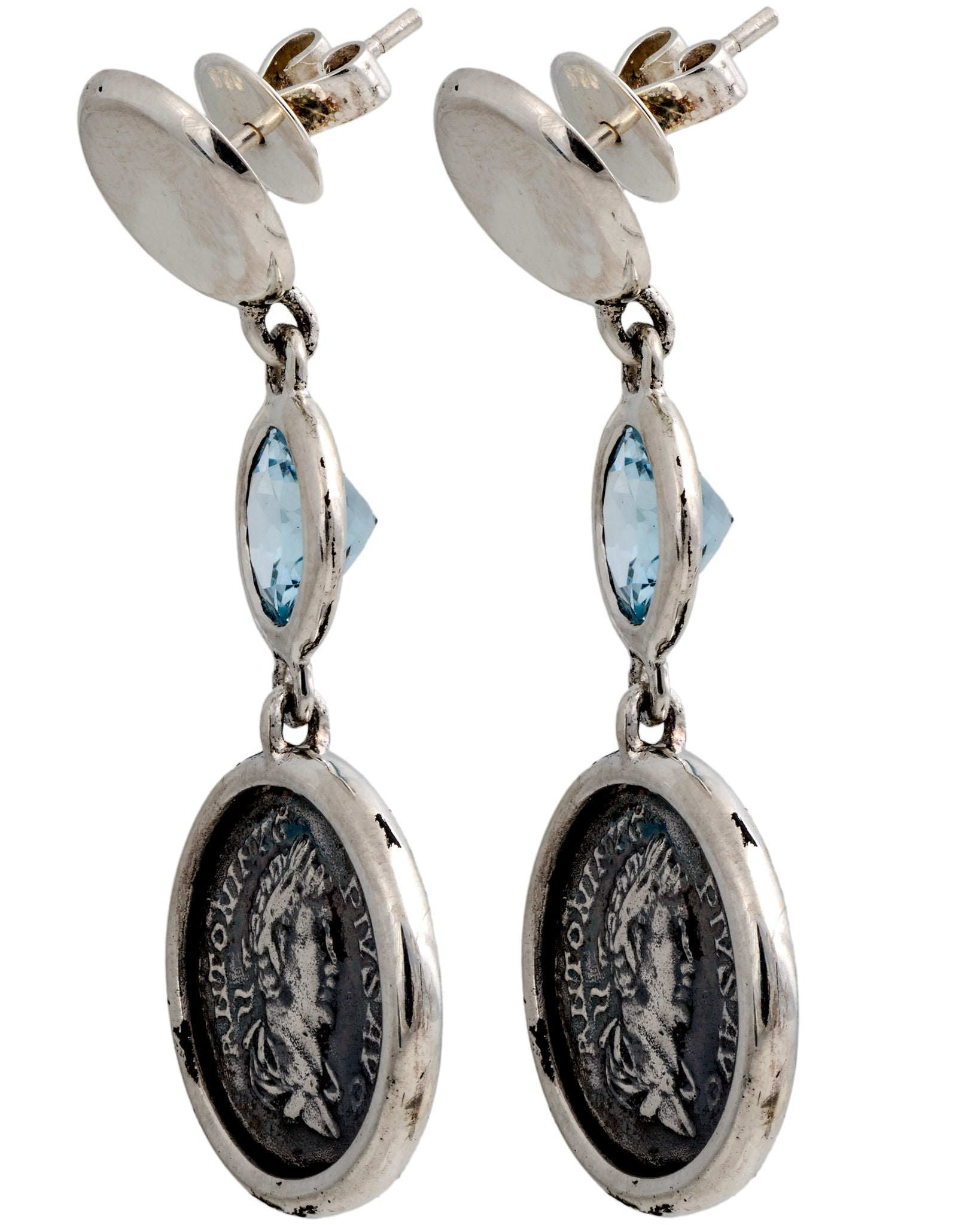 Legacy Vivace Sterling Silver Earrings w/ Medium Antique Pius Coins and Blue Topaz (3.50 ct. tw.)