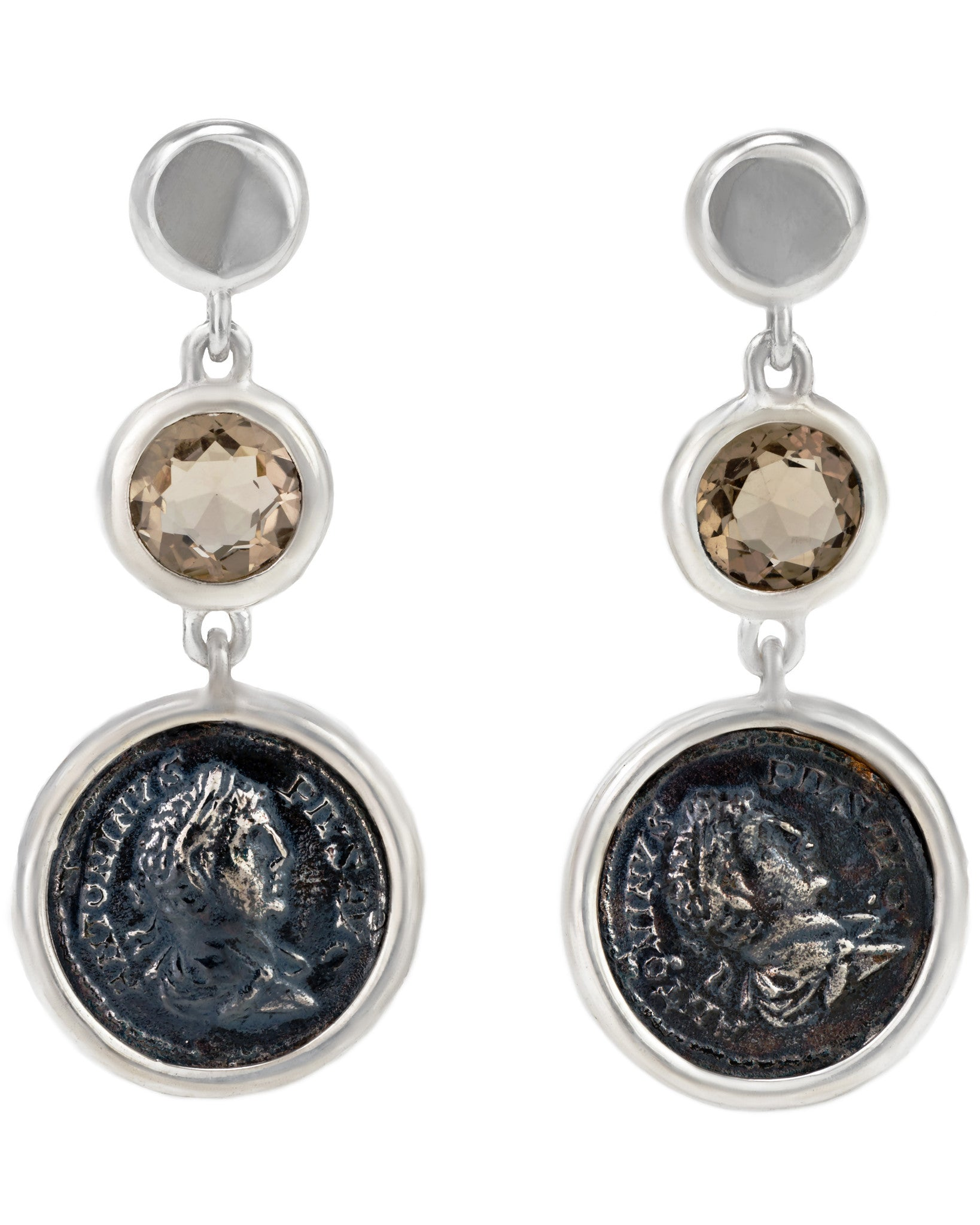 Legacy Vivace Sterling Silver Earrings w/ Medium Antique Pius Coins and Smoky Topaz (3.00 ct.)
