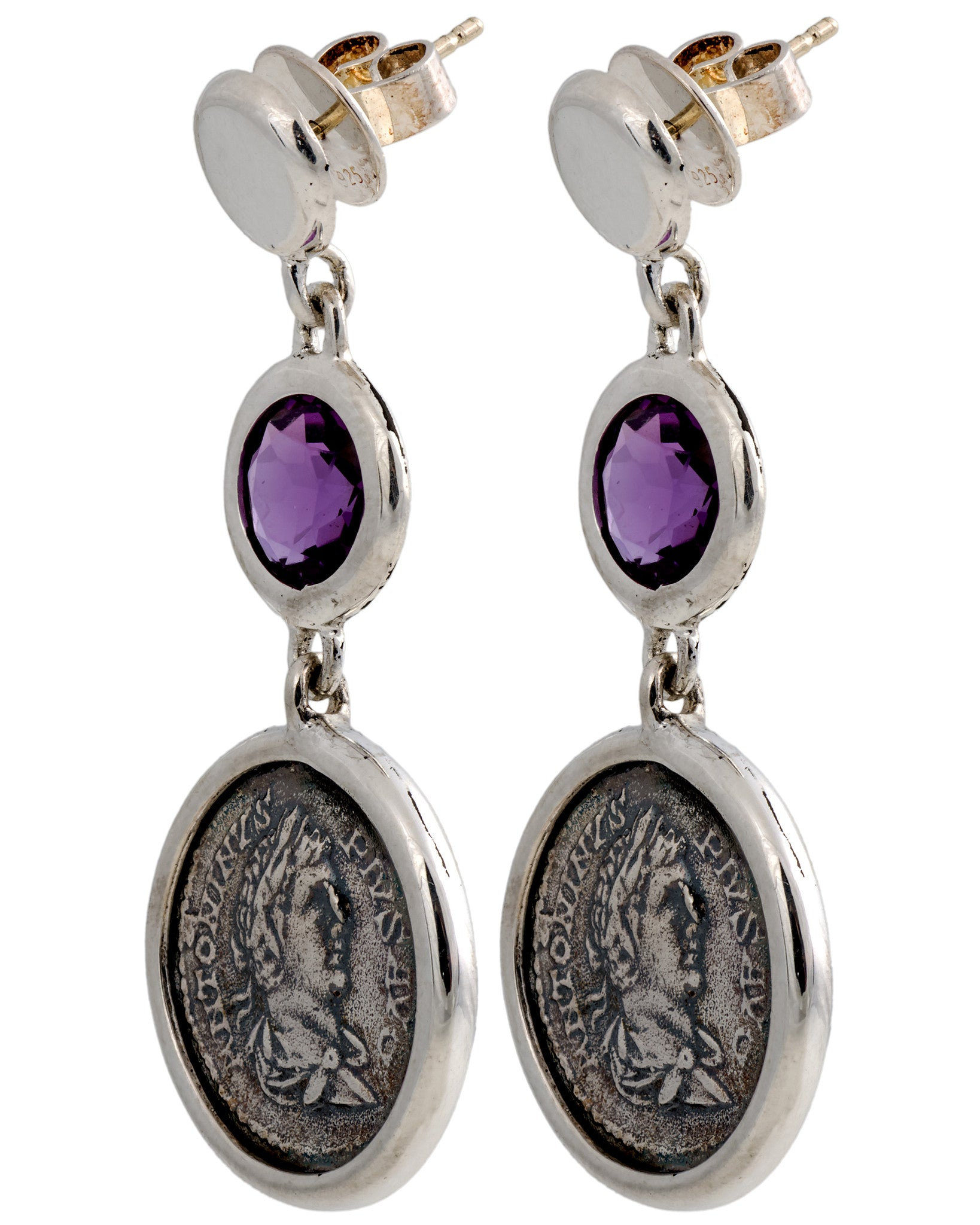 Legacy Vivace Sterling Silver Earrings w/ Medium Antique Pius Coin and Amethyst Stone (3.10 ct.) - Chain Length: 34 in