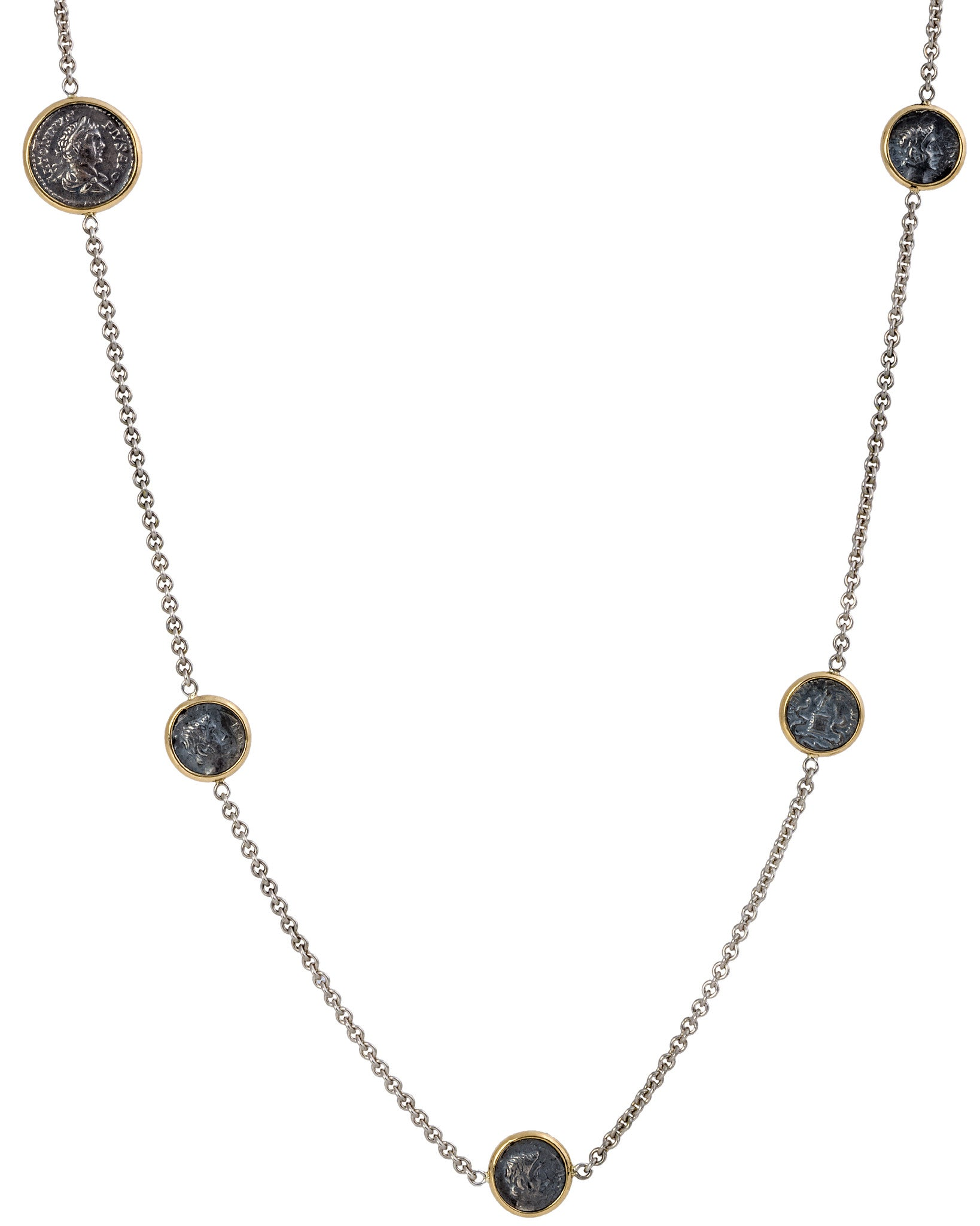 Appia 18K Yellow Gold and Sterling Silver Chain w/ 8 Antique Ottaviano Coins and 1 Antique Pius Coin - Chain Length: 36 in