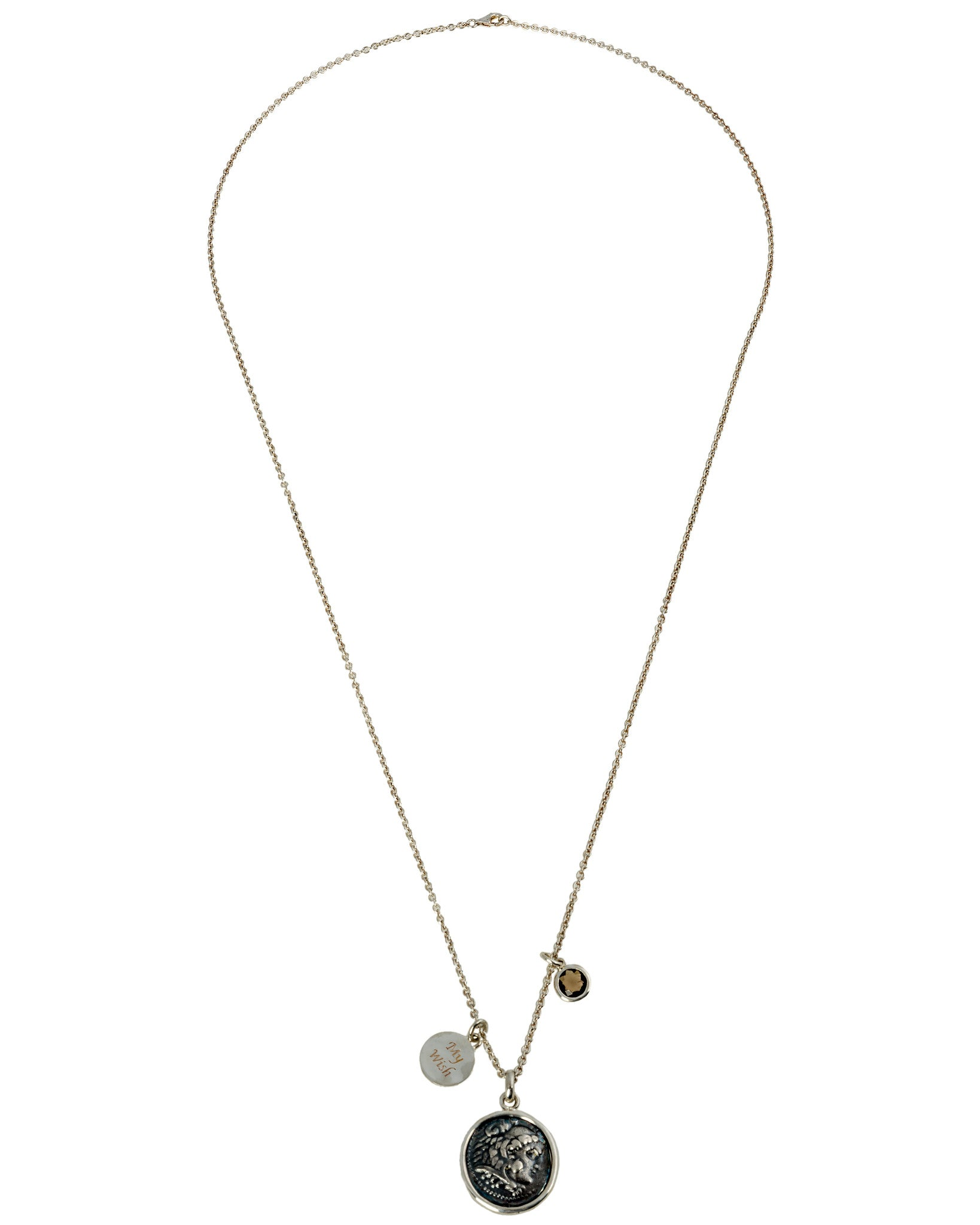 Legacy Vivace Sterling Silver Chain w/ 1 Large Antique Alexander The Great Coin, Sterling Silver Disk and Smoky Quartz (1.50 ct.) Pendants - Chain Length: 36 in