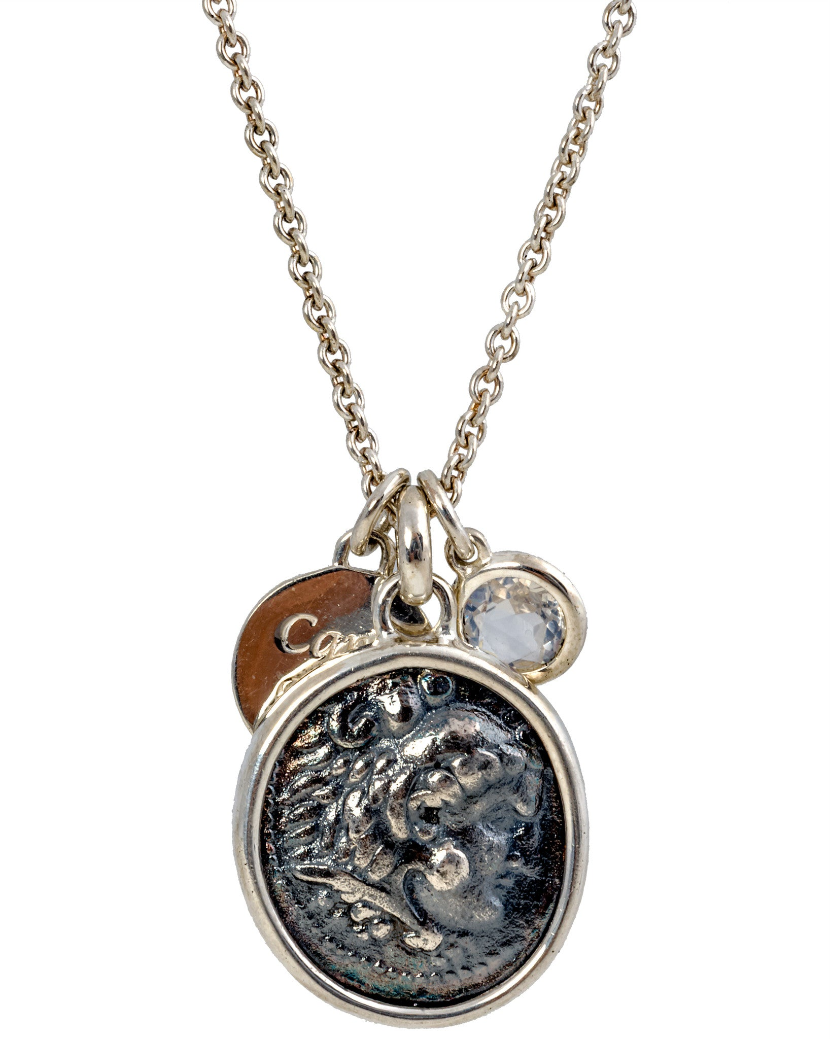 Legacy Vivace Sterling Silver Chain w/ 1 Large Antique Alexander The Great Coin, Sterling Silver Disk and Moonstone (1.50 ct.) Pendants - Chain Length: 18 in