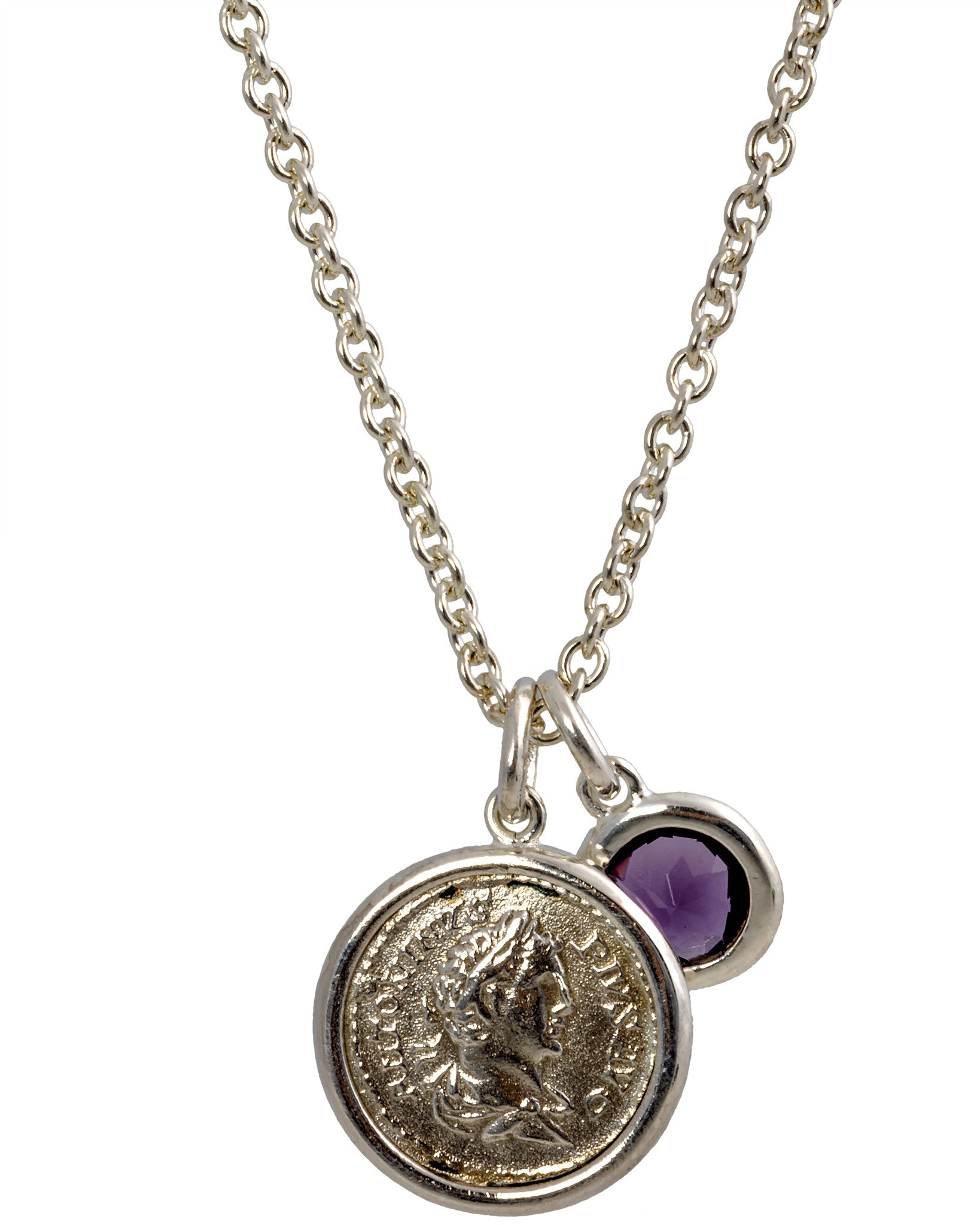 Legacy Vivace Sterling Silver Chain w/ 1 Medium Antique Pius Coin and Amethyst (1.50 ct.) Pendants - Chain Length: 18 in
