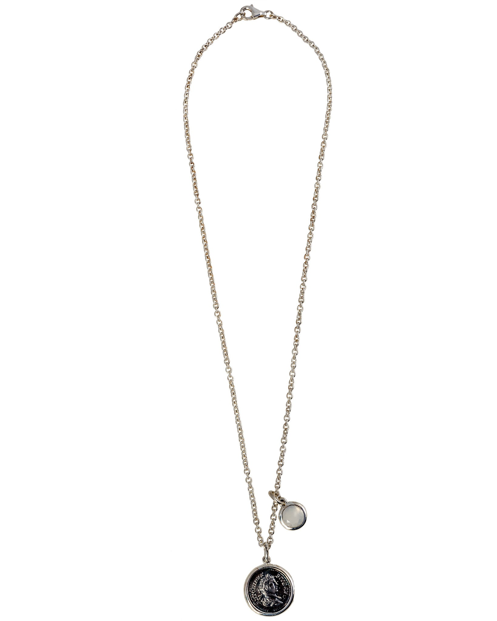 Legacy Vivace Sterling Silver Chain w/ 1 Medium Antique Pius Coin and Moonstone (1.50 ct.) Pendants - Ring Size: 5.25