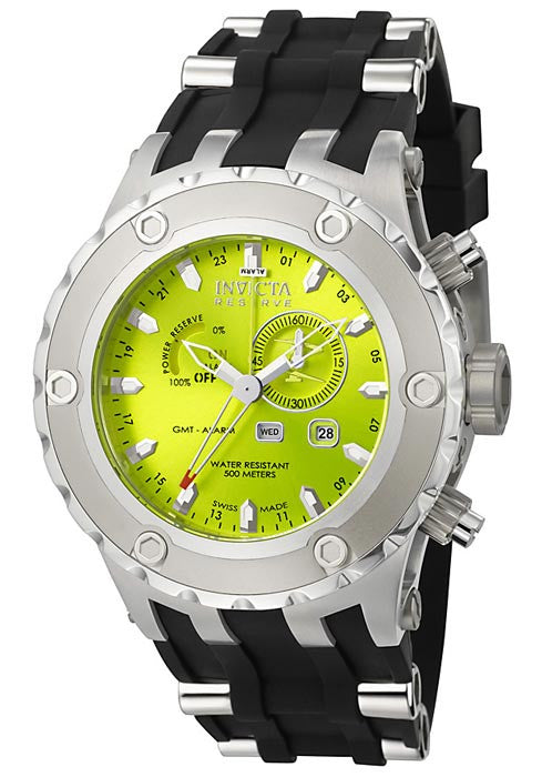 Invicta Men's Reserve Multi-Function Lime Green Dial Black Polyurethane & Stainless Steel 6211