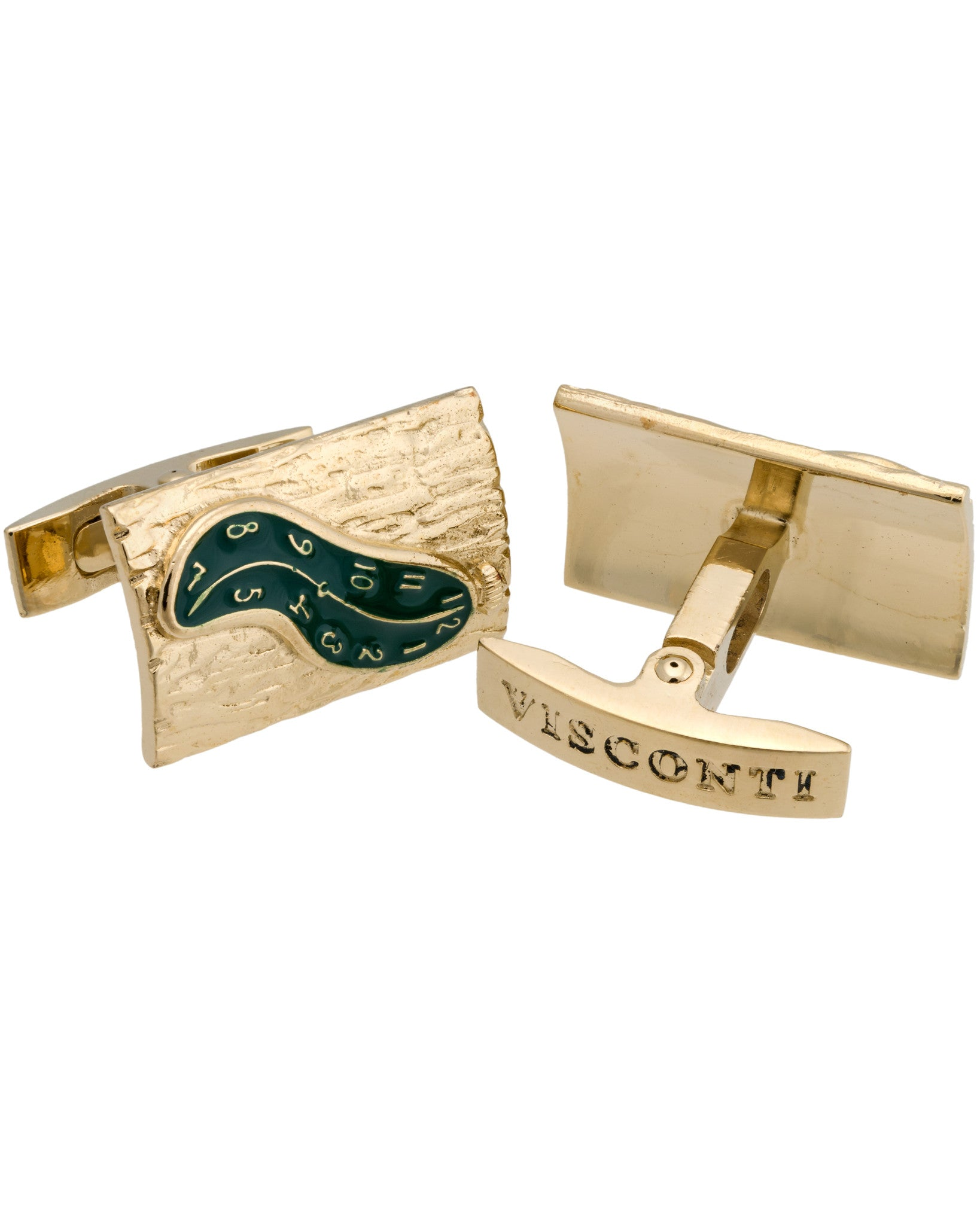 Cufflinks Dali Green Enamel Gold Trims N81 Metal Gold Plated
