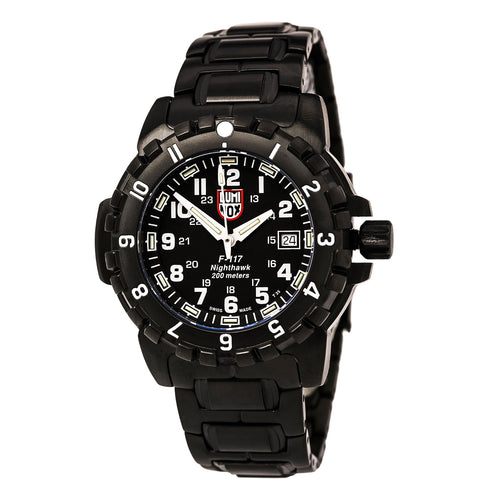 Luminox 6402 Men's Nighthawk Black Dial Black IP Steel Bracelet Dive Watch