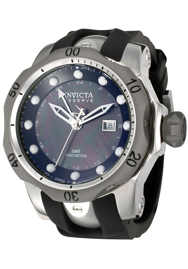Invicta Men's Reserve GMT Black Mother of Pearl Dial Black Polyurethane 6592