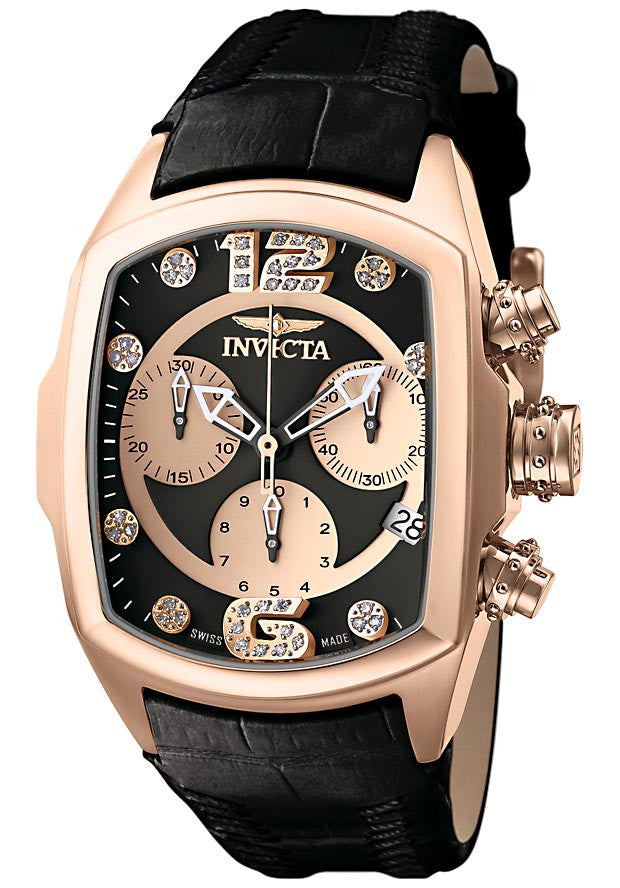Invicta 6823 Women's Lupah Revolution Collection Chronograph Diamond Accented Black Leather Watch