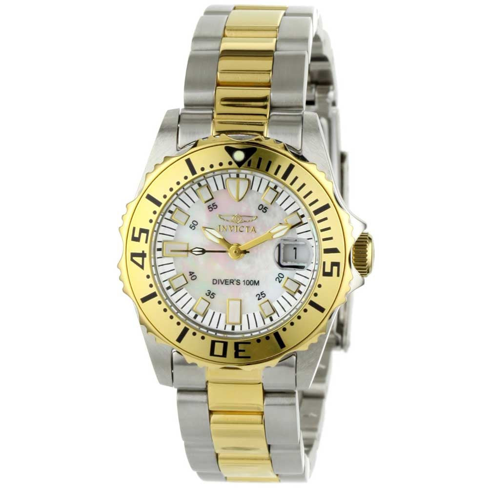 Invicta 6895 Women's Pro Diver Two Tone Stainless Steel Mother of Pearl Watch 6895