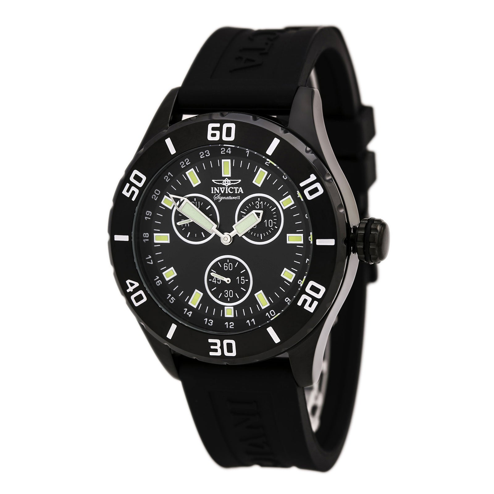 Invicta 7058 Men's Signature II Black Dial Black Rubber Strap Watch