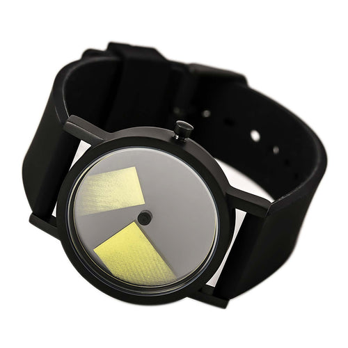 Projects 7287Y Unisex Deja Vu Black & Yellow Dial Black Silicone Strap Watch