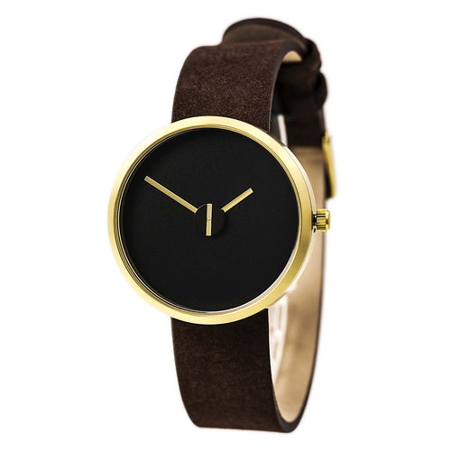 Projects 7290B Unisex Brass And Sassy Sometimes Black Dial Brown Suede Leather Strap Watch