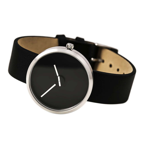Projects 7290S Unisex Sometimes Black Dial Black Leather Strap Watch