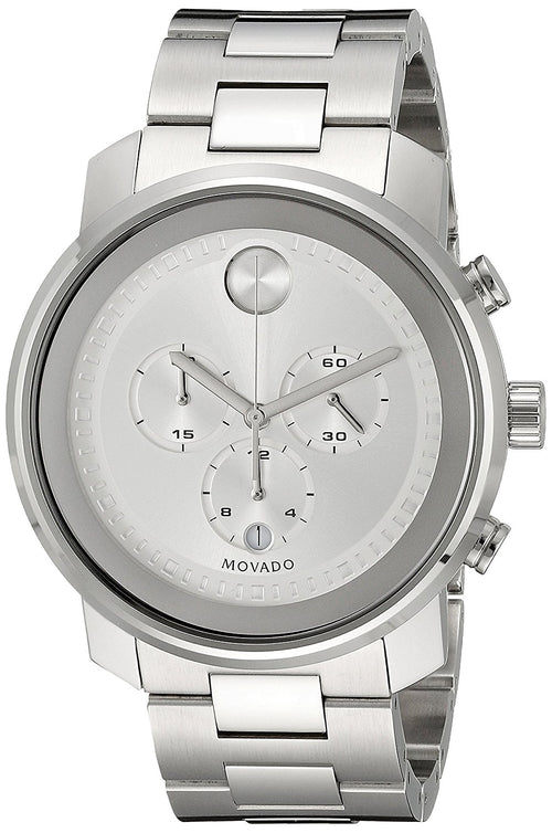 Movado Men's 3600276 Bold 44mm Chronograph Silver Dial Stainless Steel Watch