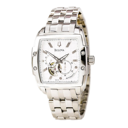 Bulova 96A122 Men's BVA Dual Aperture White Dial Automatic Steel Watch