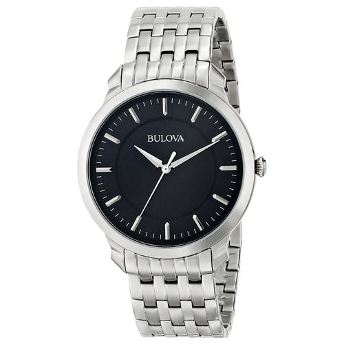 Bulova 96A134 Men's Dress Stainless Steel Black Sunray Dial Quartz Watch