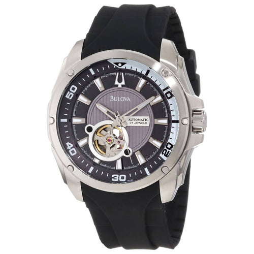 Bulova 96A136 Men's Mechanical Grey Aperture Dial Black Rubber Strap Automatic Watch