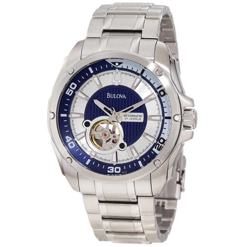 Bulova 96A137 Men's Mechanical Blue Aperture Dial Stainless Steel Automatic Watch