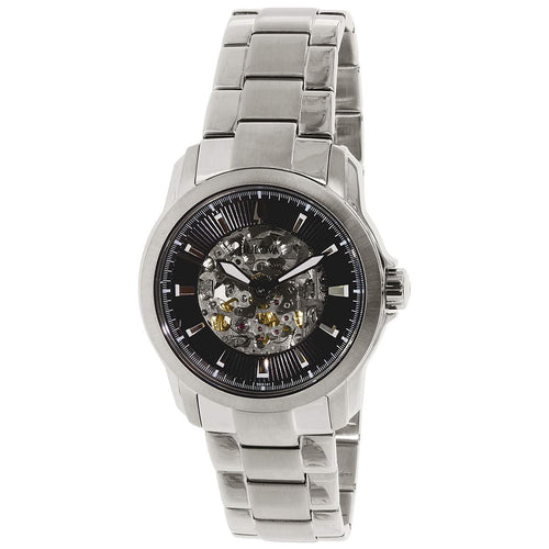 Bulova 96A141 Men's Black Skeleton Dial Steel Bracelet Automatic Watch