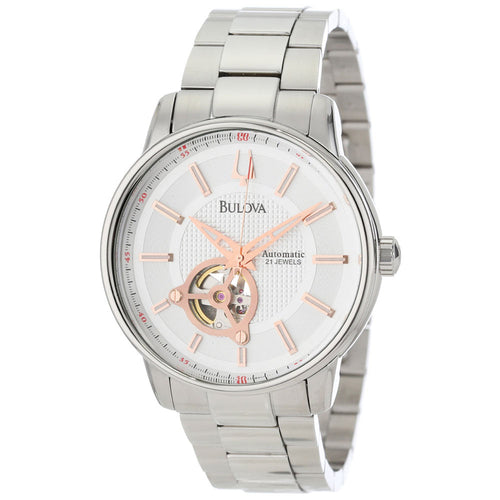 Bulova 96A143 Men's 160 Mechanical White Semi-Skeleton Dial Automatic Watch