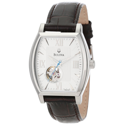 Bulova 96A144 Men's Series 160 Mechanical White Dial Dark Brown Leather Strap Watch
