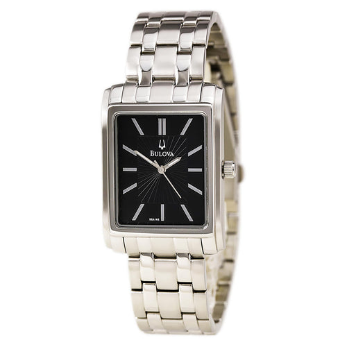 Bulova 96A146 Men's Black Dial Stainless Steel Bracelet Watch