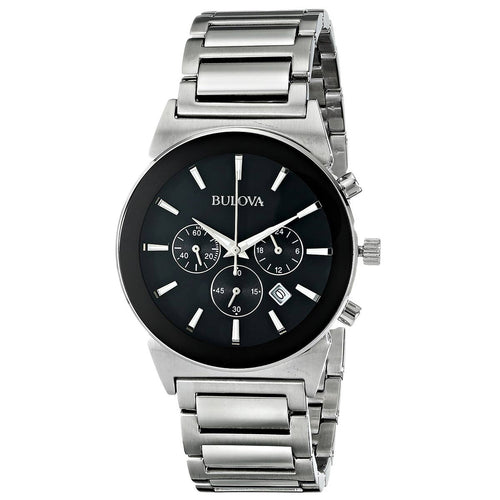 Bulova 96B203 Men's Classic Black Dial Steel Bracelet Chronograph Watch