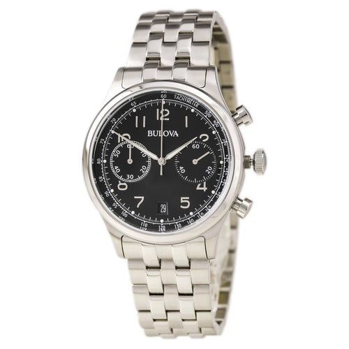 Bulova 96B234 Men's Vintage Classics Black Dial Stainless Steel Bracelet Chronograph Watch