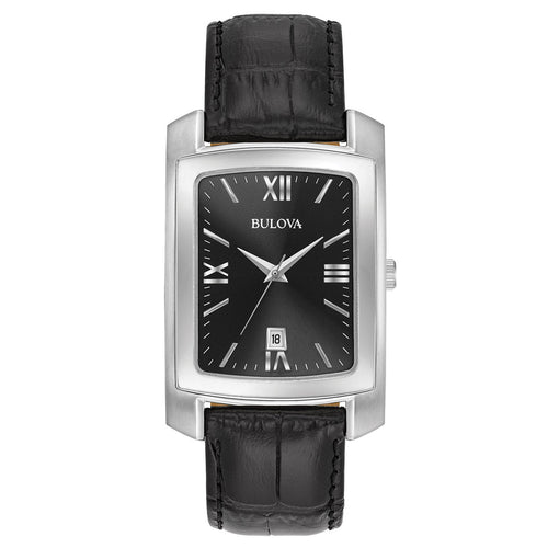 Bulova 96B269 Men's Classic Black Dial Black Crocodile Leather Strap Watch