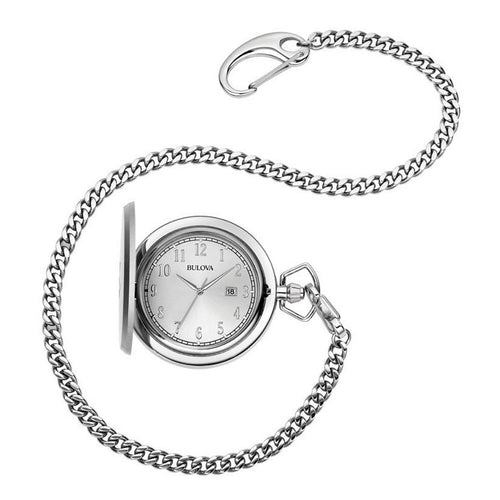 Bulova 96B270 Men's Classic Silver Dial Hunter Style Stainless Steel Chain Pocket Watch