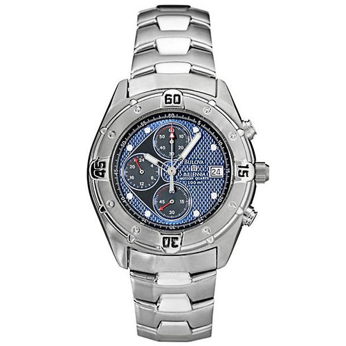 Bulova 96B34 Men's Millennia Blue & Black Dial Steel Bracelet Chronograph Motion Quartz Watch