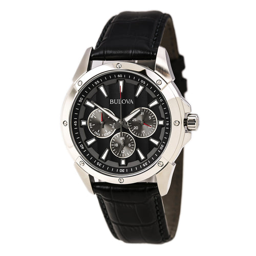 Bulova 96C113 Men's Marine Star Quartz Black Leather Strap Black Dial Watch