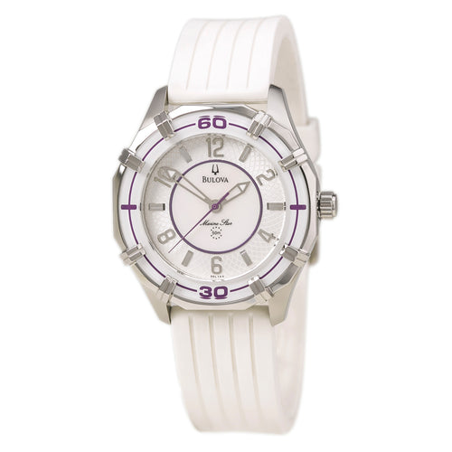Bulova 96L144 Women's Marine Star White Rubber Strap Watch