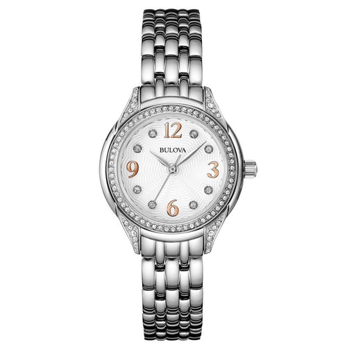Bulova 96L212 Women's Classic White Dial Stainless Steel Bracelet Crystal Watch