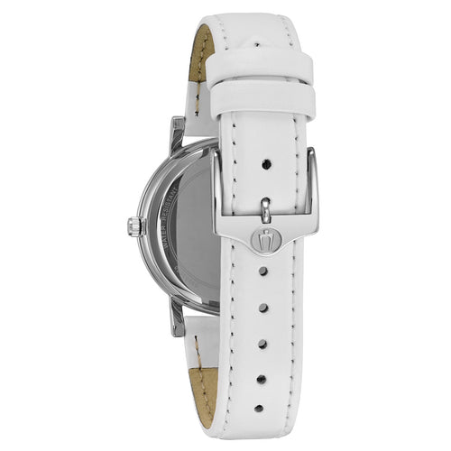 Bulova 96L245 Women's Crystal White Mother of Pearl Dial White Leather Strap Watch