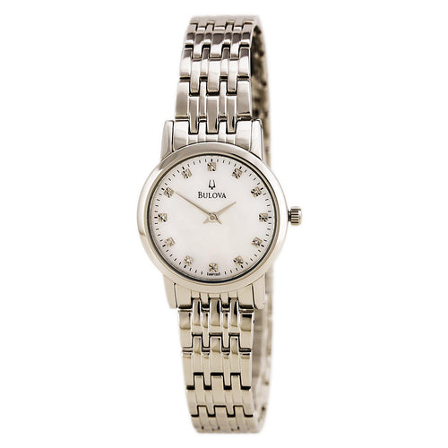 Bulova 96P135 Women's Stainless Steel White Mother of Pearl Dial Diamond Watch