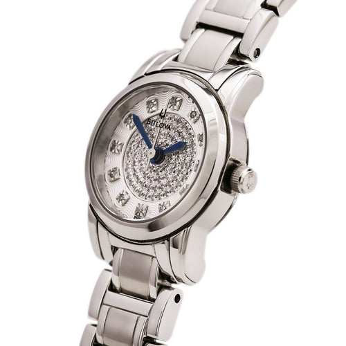 Bulova 96P143 Women's Highbridge Quartz Diamond Engraved Silver Dial Steel Bracelet Watch
