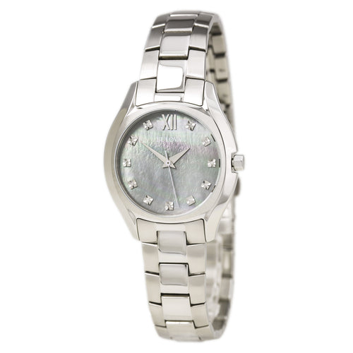 Bulova 96P158 Women's Maiden Lane Diamond Accented Grey MOP Dial Steel Bracelet Watch