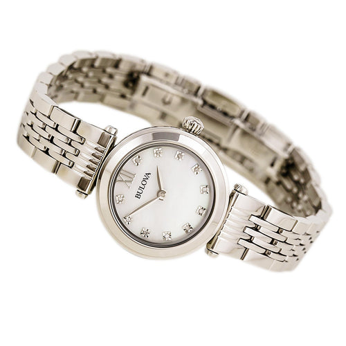 Bulova 96P167 Women's Diamond White MOP Dial Stainless Steel Bracelet Watch