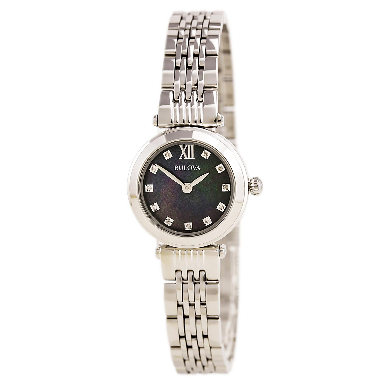 Bulova 96P169 Women's Diamond Black MOP Dial Stainless Steel Bracelet Watch