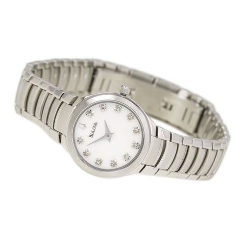 Bulova 96P20  Women's Dress White MOP Dial Stainless Steel Bracelet Diamond Watch