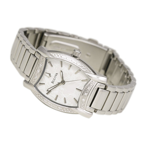 Bulova 96R135 Women's Diamond Accented Bezel White Dial Steel Bracelet Watch