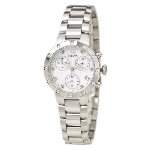 Bulova 96R202 Women's Maiden Lane White MOP Dial Steel Bracelet Chronograph Diamond Watch