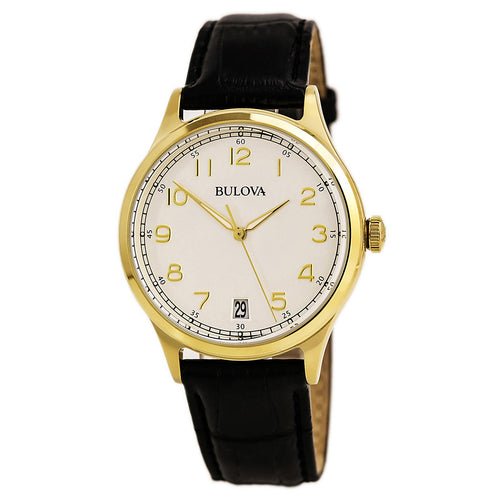 Bulova 97B147 Men's Classic Grey Dial Yellow Gold Steel Black Leather Strap Watch