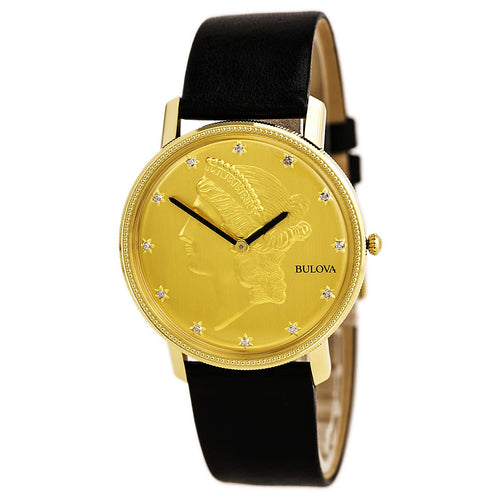 Bulova 97D105 Men's Diamond 140th Anniversary Gold Tone Dial Black Leather Strap Watch