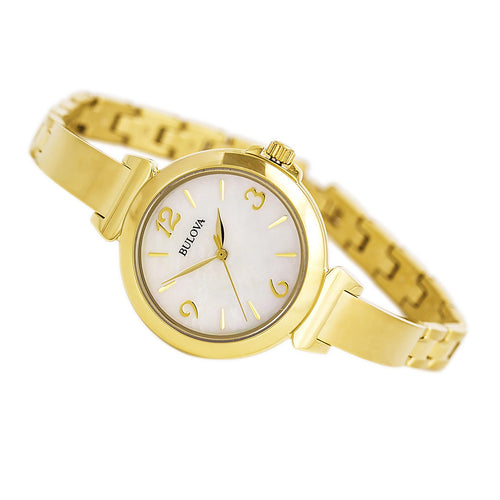 Bulova 97L136 Women's Dress MOP Dial Beige Leather Strap Watch