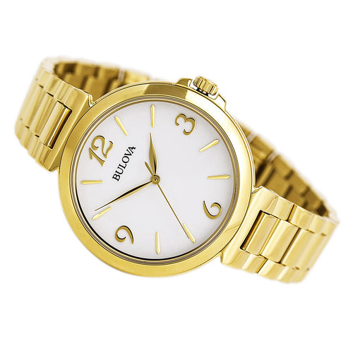 Bulova 97L139 Women's Dress White Dial Gold Plated Steel Bracelet Watch