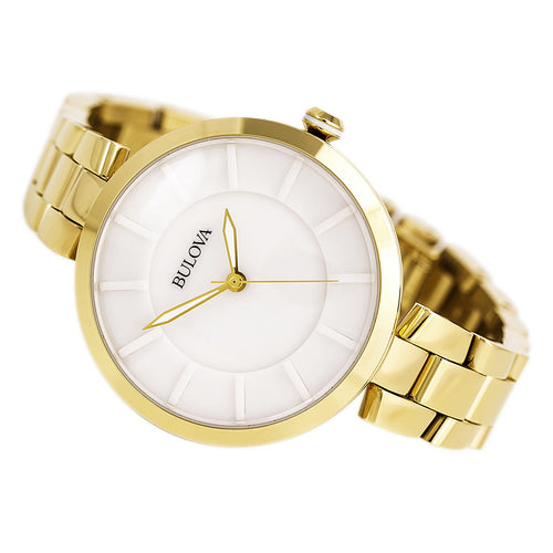 Bulova 97L142 Women's Dress Classic White Ceramic Dial Gold Plated Steel Watch