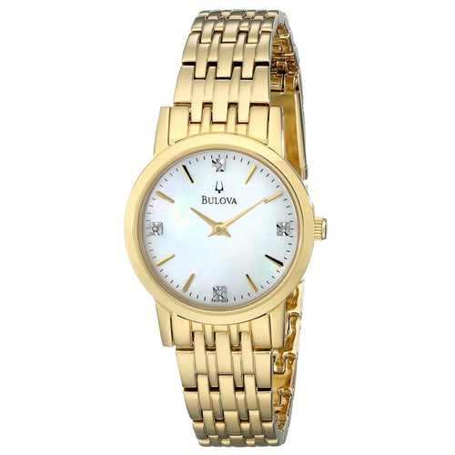 Bulova 97P103 Women's Classic Diamond Accented MOP Dial Yellow Gold Steel Bracelet Watch